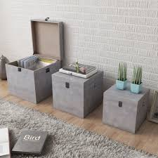 vidaXL <b>Storage Box Concrete 3</b> pcs Square MDF Sale, Price ...