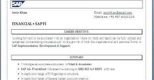 Sap Fico Sample Resume Resume Format For Sap Fico Freshers Sap Sd 19 Sample Resumes Cv Jobs