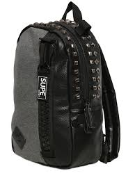 Supe Design Bag Studded Faux Leather Backpack