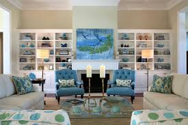 beach style living room furniture coastal living rooms with beige wall built in shelving with blue beach style living room
