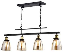 4 light antique black downlight linear kitchen chandelier with amber glass