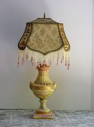 Table Lamps Awesome Victorian With Fringe Plus Seeded Glass Lamp