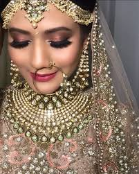bronze bridal eye makeup with pink lips