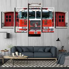 Fire Engine Design Studio Us 5 99 40 Off Modular Pictures 5 Panel Fire Engine Fire Truck Canvas Painting Wall Art Picture Firemen Print Paintings Cu 371 In Painting
