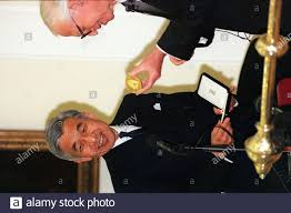 Emperor Akihito of Japan (left) smiles as he is presented with the King  Charles 2 medal by the President of the Royal Society Sir Aaron Klug today  (Thursday). Photo PA (Times rota