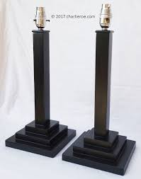 a pair of new art deco skyser style stepped table lamp base stands painted black