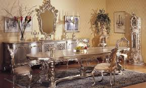 classic italian mahogany dining room set with antique wall mirror and beautiful accessories