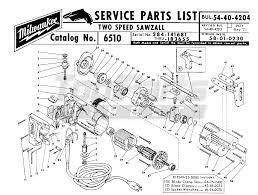 Milwaukee 6510 284 141681 two speed sawzall reciprocating saw parts