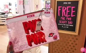 free beauty bag with 25 pink beauty