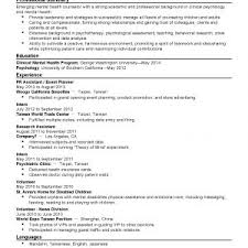 Sample Curriculum Vitae Mental Health Counselor Valid Mental Health