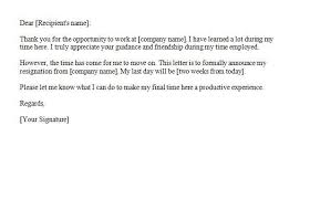 How To Write 2 Week Notice Two Weeks Notice 35 How To Write A Resignation Letter