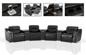 Black Leather Sectional Sofa With Recliner Casa Salem Modern Black Eco Leather Recliner Sectional Sofa With