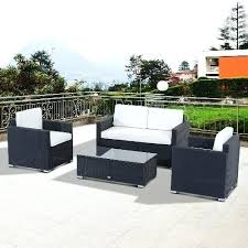 outsunny patio furniture rattan set with cushion black sets best reviews