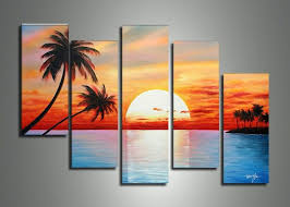 5014 handmade 5 piece blue red landscape wall art oil paintings on canvas sunset ocean pictures