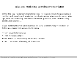 sales and marketing coordinator cover letter sales coordinator cover letter