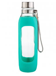 purity glass water bottle with silicone sleeve 20oz grayed jade sleeve