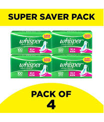 Sanitary Pad Size Chart Whisper Ultra Clean Xl Plus Wings Sanitary Pads 30 Pcs Pack Of 4