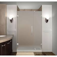 completely frameless hinged shower door with frosted glass in stainless steel