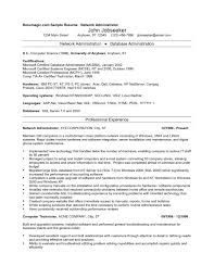 Sample Resume Of Network Administrator