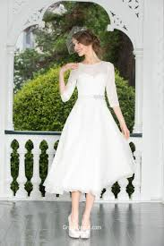 Stylish A Line Half Sleeves Short Tea Length Chiffon Lace Wedding
