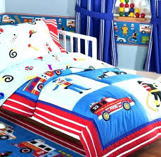 monster truck bedding bed set rescue heroes fire police car toddler crib comforter sheet blue red monster truck bedding