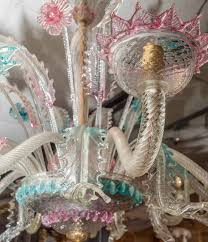 very large venetian murano glass ten light opalescent chandelier at