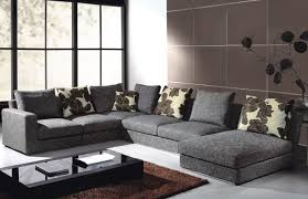 contemporary living room gray sofa set. Comfortable Living Room Design With Tile Wall And Glass Window Black Frame Gray Contemporary Sofa Set
