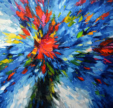 flowers in blue oil on canvas painting by dmitry spiros 110cm x 100cm 43 x 39