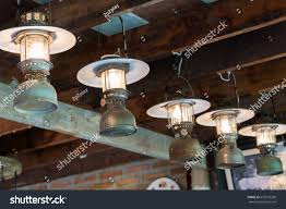 Hurricane Lantern Ceiling Light Paraffin Lamps Hurricane Lantern Hanging On Stock Photo