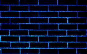 Download Wallpapers Blue Neon Masonry Texture Neon Brick