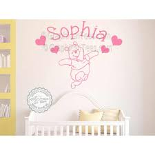 personalised nursery wall sticker winnie the pooh bedroom wall decor decal on personalised wall art for baby with personalised nursery wall sticker winnie the pooh bedroom wall