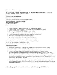 Microbiology Resume Samples