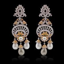 diamond pearl chandelier earrings