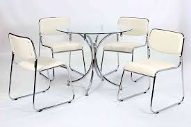 modern small round glass dining table and 4 chairs set