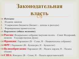 Реферат Законодательные органы Российской Федерации ru  Курсовая работа законодательная власть и ее функции