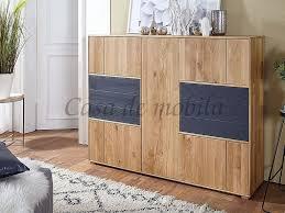 Esszimmerschrank 157x120x41cm Gose Wildeiche Geölt Holz Grau