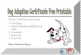Pet Adoption Certificate Template Dog Adoption Certificate Free Printable 7 Lovely Ideas