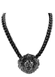 lion head metal pendant necklace