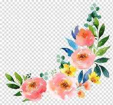 Paper With Flower Border Pink And Yellow Flowers Border Paper Watercolour Flowers