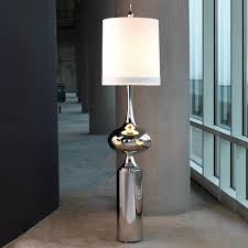signature collection luxury grand scale sculptural steel form floor lamp polished nickel finish 46 cm dia white linen shade 2x100w a bulbs 2x7w