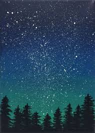 this stunning night sky scene a perfect addition to a bookshelf or small wall space available at night sky painting starry tree landscape maybe add