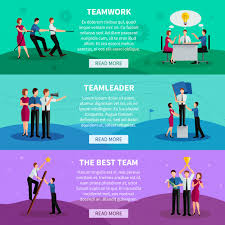 How To Be A Good Team Leader At Work Teamwork Horizontal Banners With People Working In Command