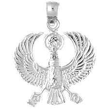sterling silver eqyptian bird pendant rhodium yellow or rose gold plated