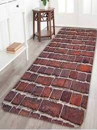 brick wall fleece antislip bathroom rug dark auburn w24 inch l71 inch