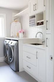 Utility Sink Backsplash Impressive Small Laundry Room Glass Mosaic Backsplash White Cabinets Grey
