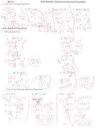 solving exponential and log equations test review