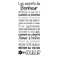 Sticker Citation Les Secrets Du Bonheur Stickers Stickers