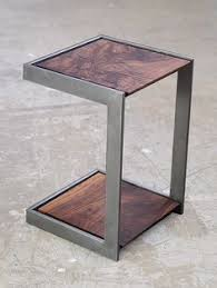 suspended wood and metal end table beautiful combination wood metal furniture