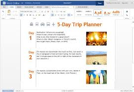 word powerpoint online trip planner template for word online