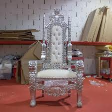 1 x new silver leaf rose king queen throne chair wedding luxury hand made french italian